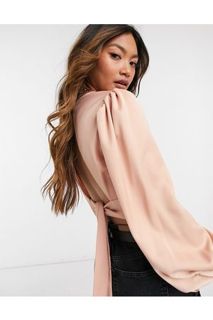 River Island High neck tie back silky top in dusty pink