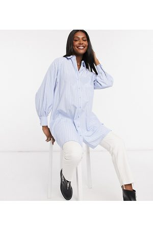ASOS ASOS DESIGN Maternity cotton poplin oversized boyfriend mini shirt dress in stripe