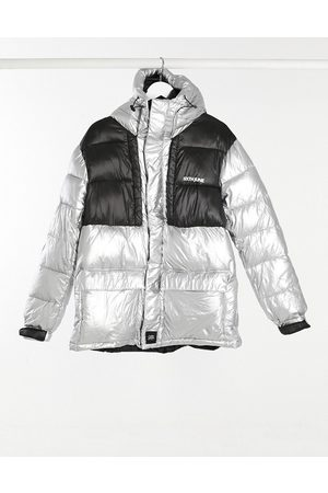 Sixth June Oversized technical puffer jacket in silver