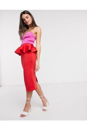 True Violet Bandeau peplum pencil midi dress in contrast brights