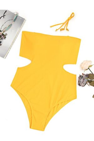 Zaful Mujer Trajes de baño completos - Plus Size Cut Out Bandeau High Leg Swimsuit