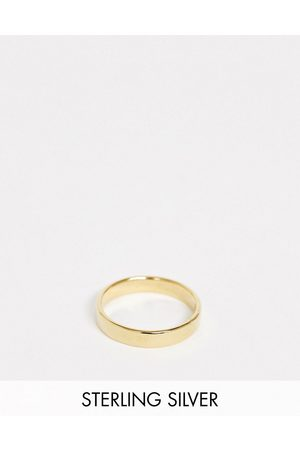 ASOS Hombre Anillos - Sterling silver band ring in 14k gold plate