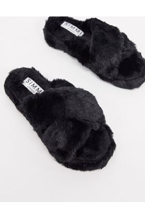 SIMMI Shoes Simmi London fluffy slippers in black