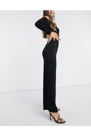 Flounce London Basic high waisted wide leg trousers in black