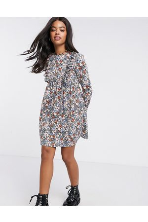 ASOS Mini smock dress with frill detail in black base ditsy floral