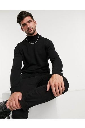New Look Roll neck knitted jumper in black
