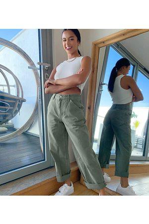 ASOS ASOS DESIGN Petite slouchy chino trouser in khaki