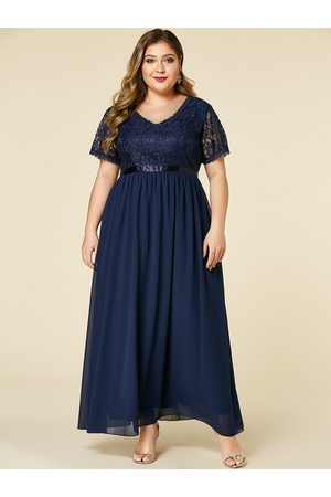 YOINS Plus Size Lace Insert Short Sleeves Dress