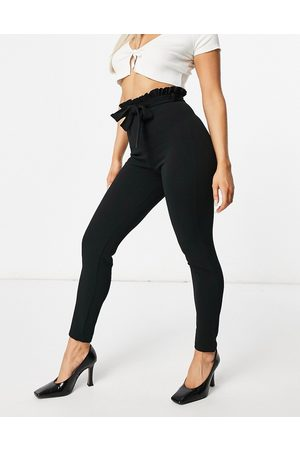 Flounce London Cigarette trousers with paperbag waist in black