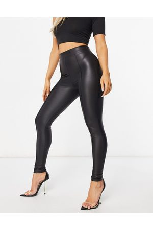 ASOS Leather look legging with pintuck in black