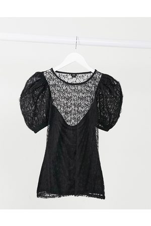 River Island Lace puff sleeve top in black