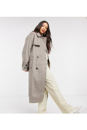 ASOS ASOS DESIGN Tall brushed twill trench coat in grey
