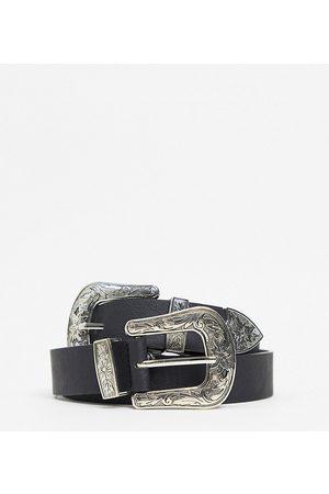 My Accessories London Exclusive western double buckle blazer belt in black