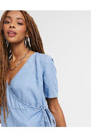 ASOS Soft denim wrap smock dress in blue