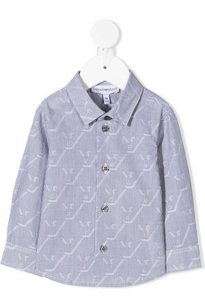 Emporio Armani Camisa a rayas con logo