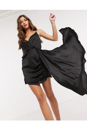 I saw it first Asymmetric satin drape mini dress in black
