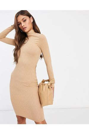 Flounce London Basic ribbed roll neck long sleeve dress in camel