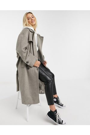 ASOS Brushed twill trench coat in grey