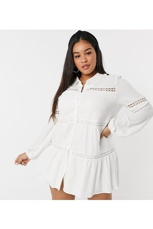 In The Style X Lorna Luxe bell sleeve shirt dress with cotton trim in cream