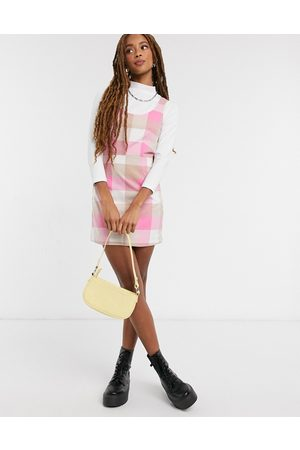 Monki Hanna check print mini dress in pink