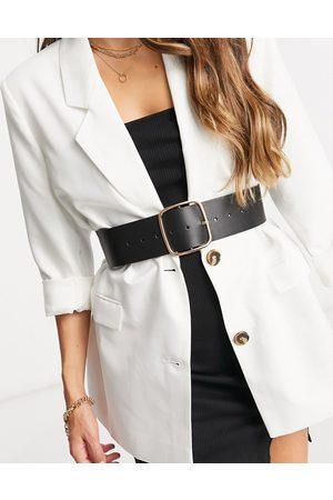ASOS Wide square buckle waist belt in black