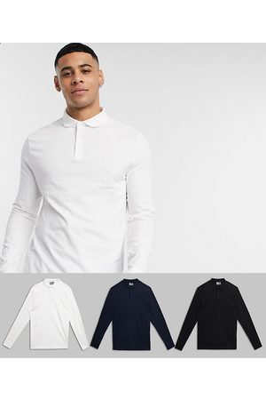 ASOS 3 pack organic long sleeve jersey polo