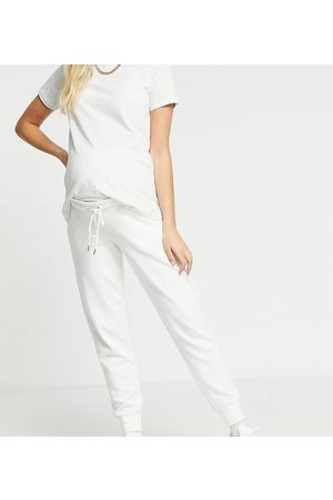 Lindex MOM Jo organic cotton fleece joggers in off white