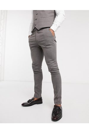 ASOS Wedding super skinny suit trousers in charcoal micro texture