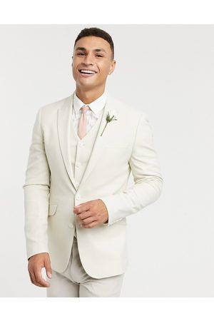 ASOS Wedding super skinny suit jacket in stone micro texture