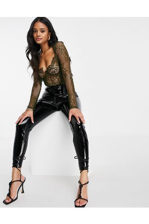 Femme Luxe Long sleeve lace body in khaki