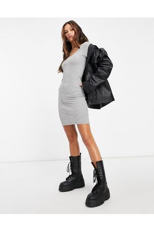 Brave Soul Button through mini dress in grey