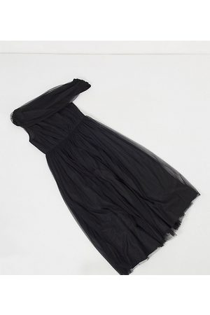 ASOS Mujer Maxi - ASOS DESIGN Curve tulle fallen shoulder maxi dress in black