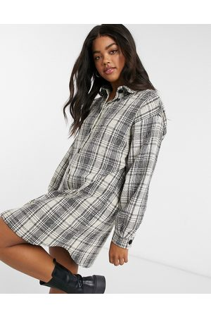 ASOS Button through mini shirt dress in boucle check