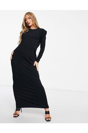 ASOS Padded shoulder long sleeve maxi dress in black