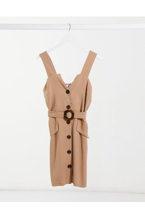 River Island Button front pinny mini dress in