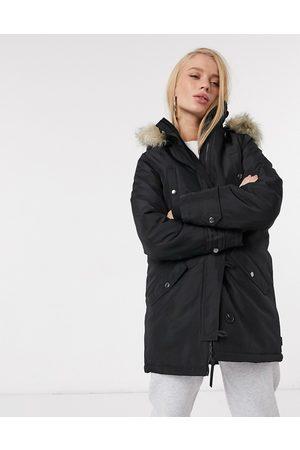 Vero Moda Parka with faux fur hood in black