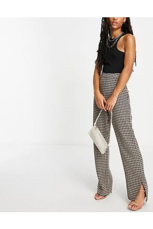 NaaNaa High waisted split hem tailored trousers in brown dogtooth