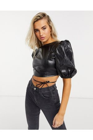 QED London PU crop top with open tie back in black