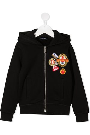 Dsquared2 Logo patch zip-up hoodie