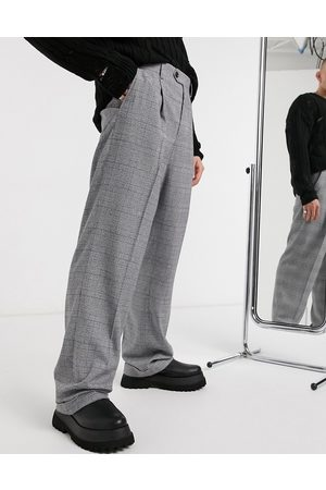 ASOS Wide leg smart trouser in check with turn up
