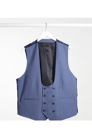 ASOS Plus wedding super skinny suit waistcoat with micro texture in mid blue