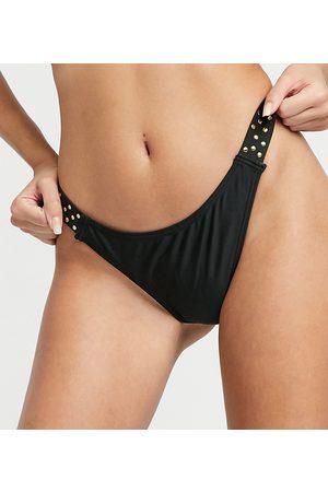 Wolf & Whistle Exclusive high leg stud bikini bottom in black