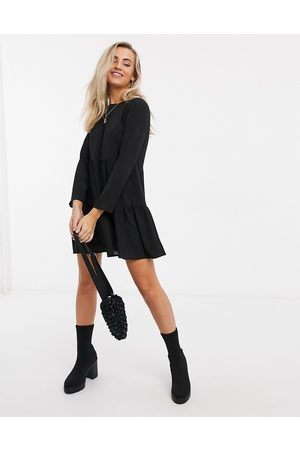 ASOS Long sleeve tiered smock mini dress in black