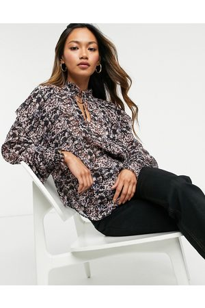 & OTHER STORIES High neck ruffle blouse in pink floral