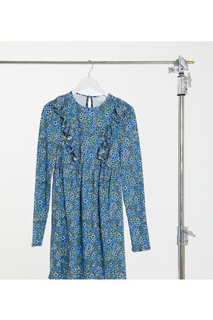 ASOS ASOS DESIGN Tall mini smock dress with frill detail in blue ditsy floral print