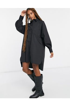 ASOS Oversized boyfriend mini shirt dress in black