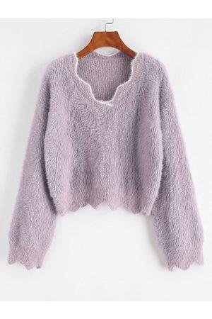 Zaful Mujer Cárdigans - Fuzzy Knit Drop Shoulder Contrast Trim Sweater