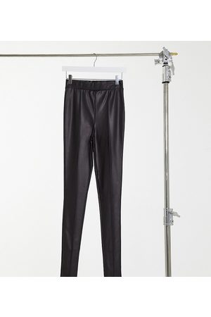 ASOS ASOS DESIGN Tall leather look legging with pintuck in black