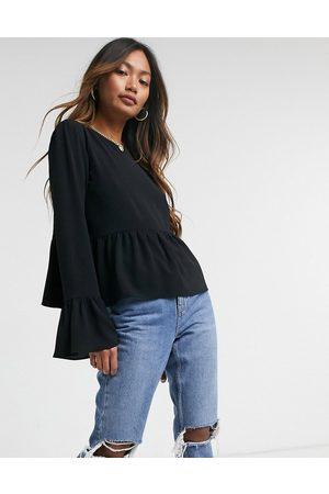 ASOS Long sleeve smock top in black