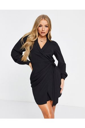 ASOS Collared wrap mini dress in black